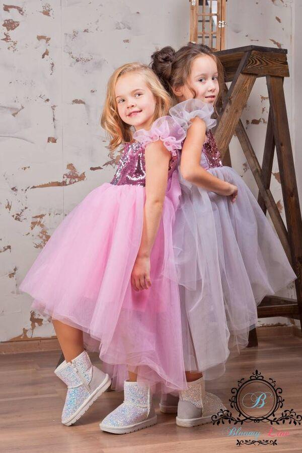 Платье асимметричное с двухсторонними пайетками